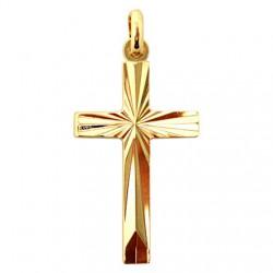 Croix Striée plaqué or - 30 mm