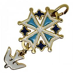 Croix Huguenote émaillée bleu et blanc plaqué or - 20 mm