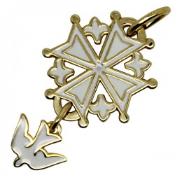 Enamelled Huguenot cross white - plated gold - 20 mm
