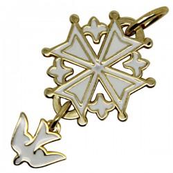 Croix Huguenote émaillée blanc - plaqué or - 20 mm