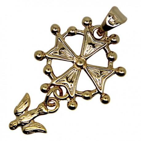 Croix Huguenote émaillée blanc - plaqué or 20 mm