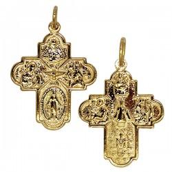 Croix aux Saints protecteurs  plaqué or  - 25 mm