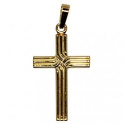 Croix lignée plaqué or 23 mm