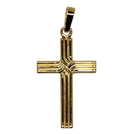 Croix lignée plaqué or 40 mm