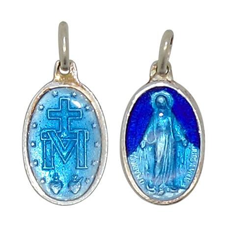 Médaille de la Vierge Miraculeuse bleu 15 mm - Argent 925