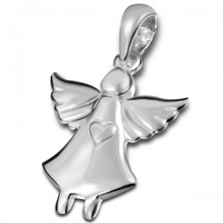 Angel and heart pendant 14mm - silver 925