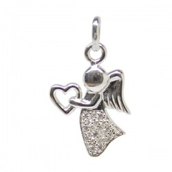 Angel, heart and strass pendant 20mm - silver 925