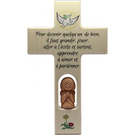 Croix en bois avec ange terre cuite 20 cm