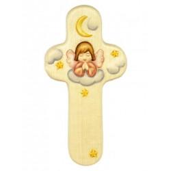 Croix en bois Ange Rose - 15 cm