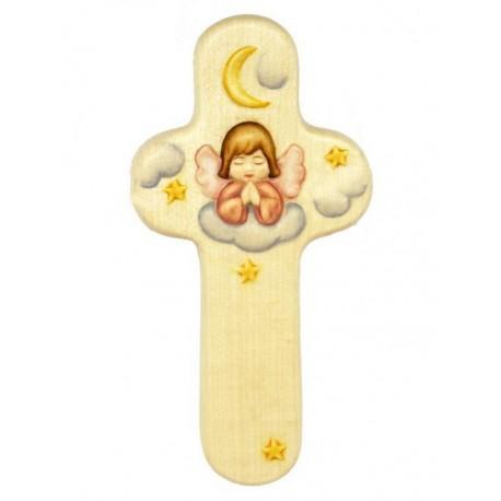 Croix en bois Ange Rose 15 cm