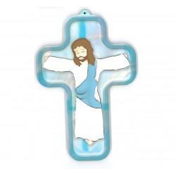 Croix en bois avec Christ 13 cm - couleur bleue