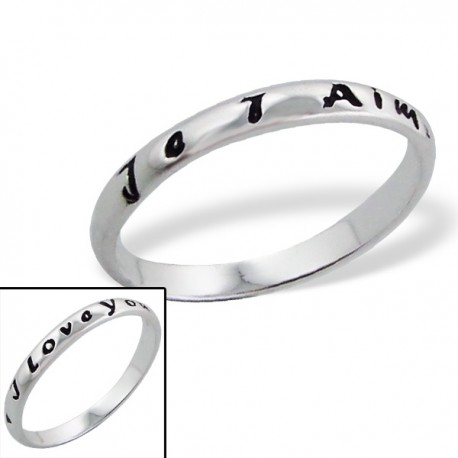 "Bague ""Je t'aime,I love You."" - argent 925 - Taille 6"