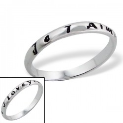 """Bague """"Je t'aime,I love You."""" - argent 925 - Taille 6"""