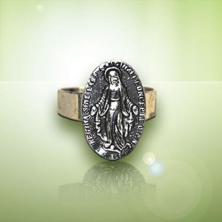 Bague Sacré Coeur Jésus et Sacré Coeur Marie