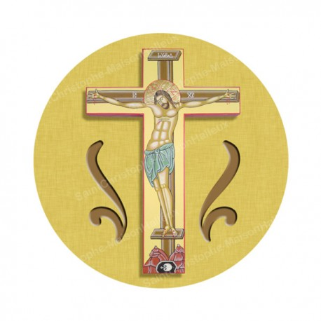"""Autocollants ronds - 45mm - """"Croix jaune"""" - planche 24 pièces"""