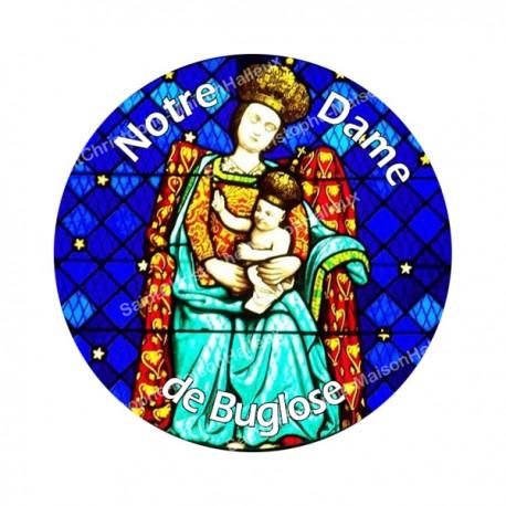 """Autocollants ronds - 45mm - """"Notre-Dame Buglose 2 blanc"""" - planche 24 pièces"""