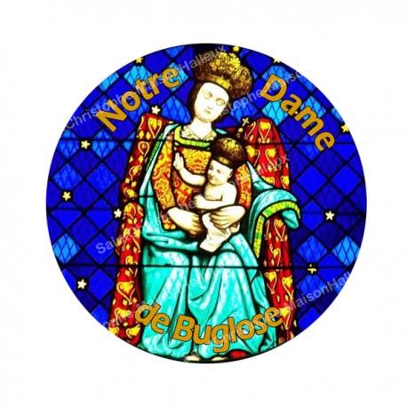 """Autocollants ronds - 45mm - """"Notre-Dame Buglose 2 orange"""" - planche 24 pièces"""