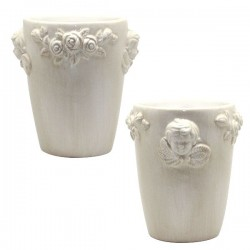 English Ceramic Angel and flowers Pot - 10 cm