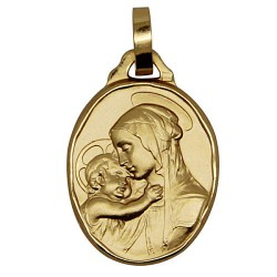 Virgin and Child medal gold plated - 20 mm