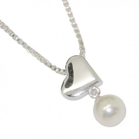 Pendentif Cœur Ange - Cristal blanc  - Argent 925