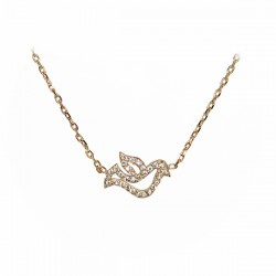 Bracelet with Doves and Rhinestones - Gold plated