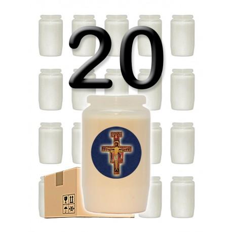 """Bougies 3 jours - Blanches - """"Croix bleue"""" - 20 pièces"""