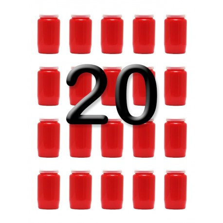 Bougies 3 jours - Rouges - 20 pièces