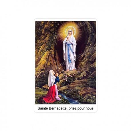 """Autocollants Rectangulaires - """"Sainte Bernadette, priez pour nous"""" - 8 pièces - Français"""