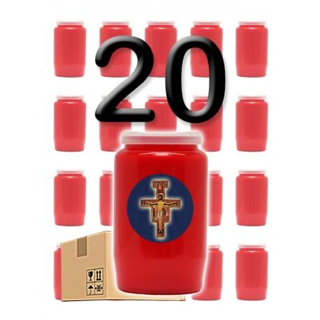 """Bougies 3 jours - Rouges - """"Croix bleue"""" - 20 pièces"""