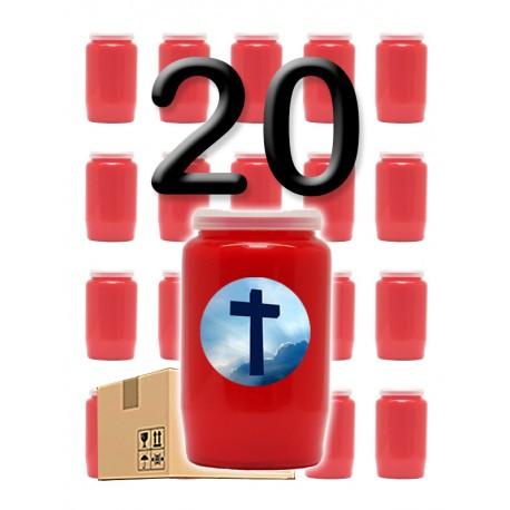 """Bougies 3 jours - Rouges - """"Croix ciel"""" - 20 pièces"""