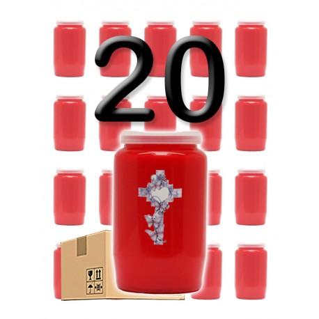 """Bougies 3 jours - Rouges - """"Croix coeur"""" - 20 pièces"""
