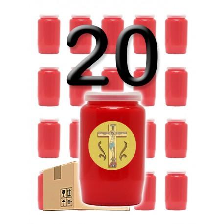 """Bougies 3 jours - Rouges - """"Croix jaune"""" - 20 pièces"""