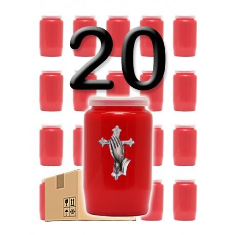 """Bougies 3 jours - Rouges - """"Croix mains"""" - 20 pièces"""