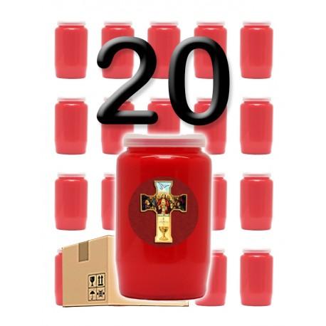 """Bougies 3 jours - Rouges - """"Croix rouge"""" - 20 pièces"""