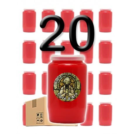 """Bougies 3 jours - Rouges - """"Curé Ars"""" - 20 pièces"""