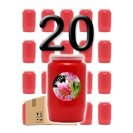 """Bougies 3 jours - Rouges - """"Merci grâce obtenue 1"""" - 20 pièces"""