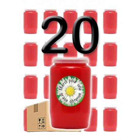 """Bougies 3 jours - Rouges - """"Merci grâce obtenue 2"""" - 20 pièces"""