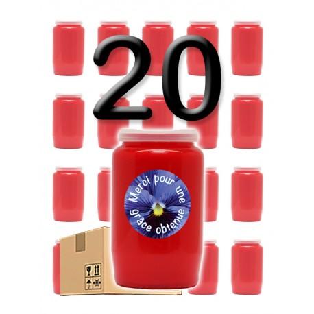 """Bougies 3 jours - Rouges - """"Merci grâce obtenue 3"""" - 20 pièces"""