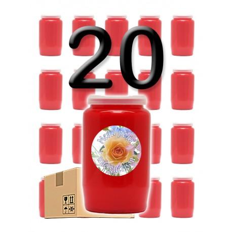 """Bougies 3 jours - Rouges - """"Merci pour guérison"""" - 20 pièces"""
