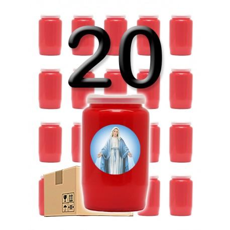 """Bougies 3 jours - Rouges - """"Miraculeuse 1"""" - 20 pièces"""
