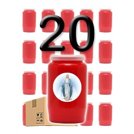 """Bougies 3 jours - Rouges - """"Miraculeuse 2"""" - 20 pièces"""