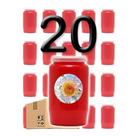 """Bougies 3 jours - Rouges - """"Vielen Dank für Heilung"""" - 20 pièces"""