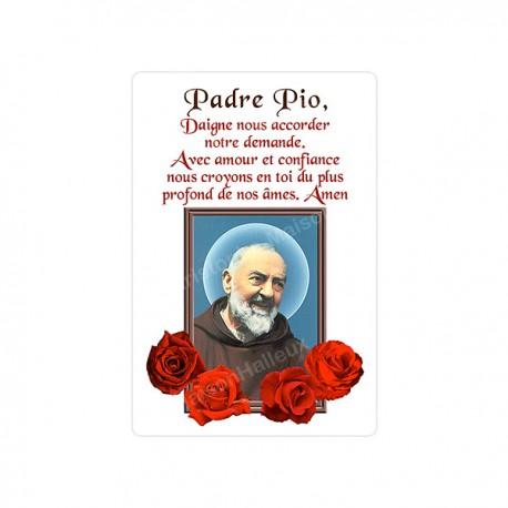 """Autocollants Rectangulaires - """"Padre Pio - roses"""" - 8 pièces - Français"""