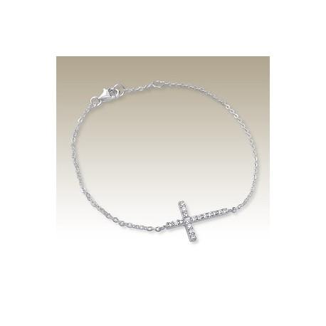 Bracelet avec Croix Cristal - Argent 925
