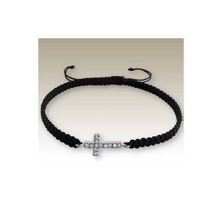 Bracelet Avec Croix Strass cordon noir - Ange 925