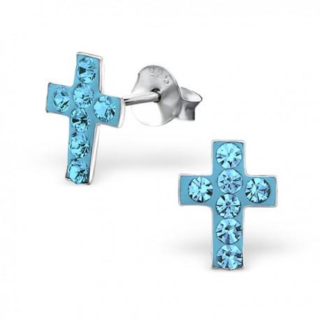 Boucles d'oreilles Croix Bleue - Cristal