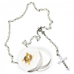 Mother of pearl rosary, heart, Chalice with communion box