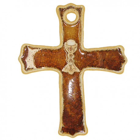 Croix Terre cuite émaillée Calice - Brun