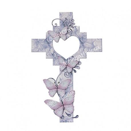 Autocollant Croix Cœur découpé - 12 pièces