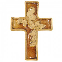 Croix Terre cuite émaillée brun avec fleurs